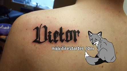 Victor in Fraktur Tattoo by NikkiFirestarter