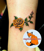 Yellow Rose Tattoo by NikkiFirestarter