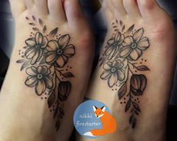 Floral Foot Tattoo by NikkiFirestarter