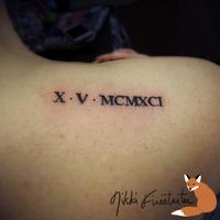 Roman Numeral Date Tattoo by NikkiFirestarter