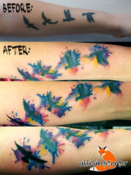 Birds with Watercolor Tattoo by NikkiFirestarter