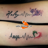 Kid Names with Heartbeat and Watercolor Tattoos by NikkiFirestarter