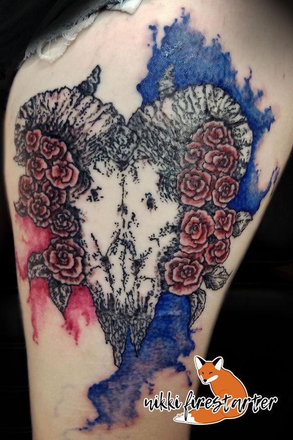 Ram Skull Tattoo by NikkiFirestarter