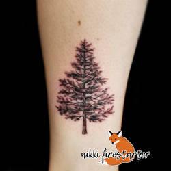 Pine Tree Tattoo by NikkiFirestarter