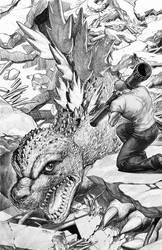 Godzilla #7 B/W artwork by EJ-Su