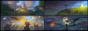 Siege. Missions, win and lose illustrations by Gimaldinov