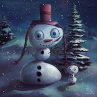 Mama-daughter-snowmen by samaposebe