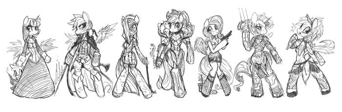 Mane6 Cosplay as my favorite game! by CorruptionSolid