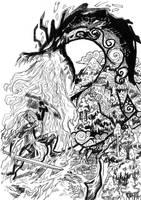 Viviane against the dragon by LaysFarra