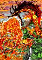 Viviane and dragon color by LaysFarra