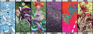 First six of UEL ARAMCHEK's TAROT ARCANA by LaysFarra