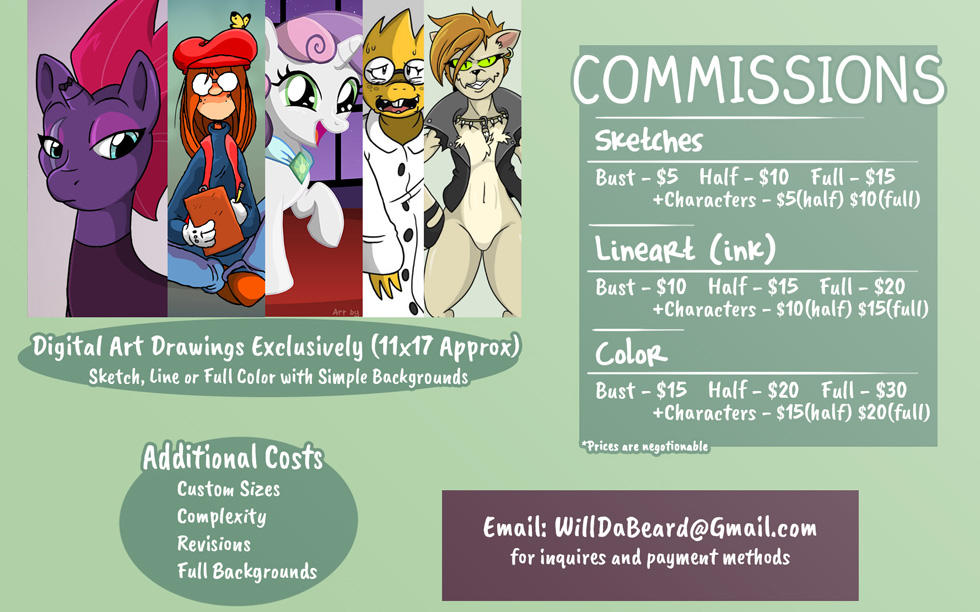 Commissions Are Open! (Pricing Guide) by Will-Da-Beard