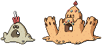 Sandygast and Palossand Sprites by conyjams