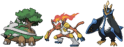 Torterra, Infernape, and Empoleon Sprites by conyjams