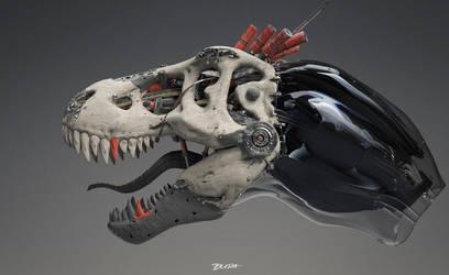 Cyber skull monday -  T-rex skull 01 by przemek-duda