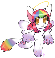 :C: Rainbow plush cutie by pandamoonpaws
