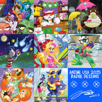 Anime USA 2015  - Badge Designs by geeksnextdoor