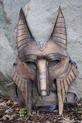 Ancient Bronze Anubus Mask by savagedryad