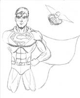 Superman Line Art by MetalPudding