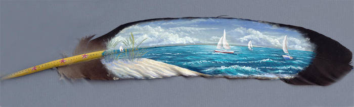 Summer Sails - painted feather by Denali