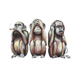 Three wise monkeys by Vinghen