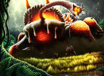 Hungry Alien Salamander by wyvernsmasher