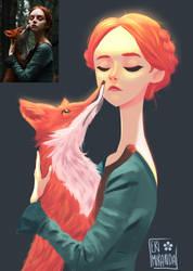 The girl and the fox by Eri-Miranda