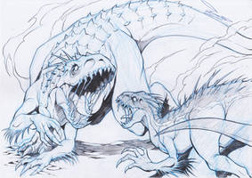 indominus rex vs indoraptor by ChaosArtstudio