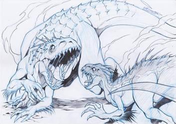 indominus rex vs indoraptor by ChaosArtstudio