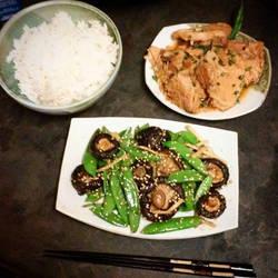 Teriyaki pork with rice and veggies by kukuramutta