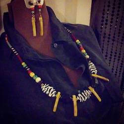 African Inspired Necklace and Earring Set by kukuramutta