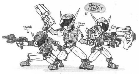 Blue SWAT team by Kainsword-Kaijin
