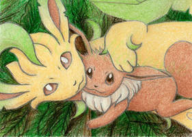 Eevee and Leafeon (ATC) by Sillageuse