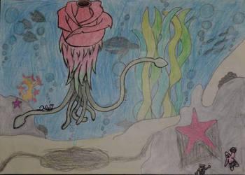 rose, dragon fruit, squid creature by Lets-play-pls-halp