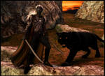 Drizzt Do'Urden and Guenhwyvar :: Twilight by DrowElfMorwen