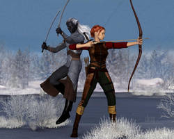 Fight Practice :: Drizzt and Catti-brie by DrowElfMorwen