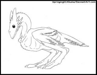Springnight Wyvernoid Chick  -LineArt Adoptable- by SpringnightAkuma