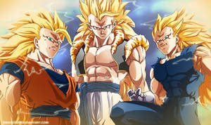 Battle Of The Gods SSJ3s by Sanoo32