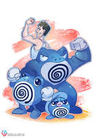 Justin's Water Pokemon - The Poliwrath family by mmishee