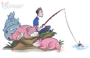 Justin's Water Pokemon - Slowpoke and Slowbro by mmishee
