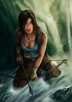 Lara Croft by the waterfall by dennis0306