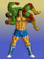 Commission: Orc wrestlers by headingsouth