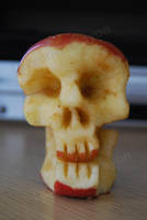 Skull Apple Carving Test by Lavender-Crayon