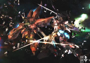 Sinanju VS Unicorn Gundam by sandrum