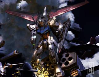 Aile Strike Gundam vs BuCue by sandrum