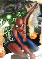 Spiderman vs Green Goblin by dotlineshape