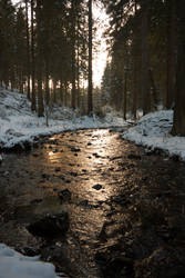 Golden Winter Stream by Dragoroth-stock