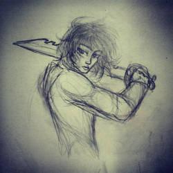 Desk drawing - Knight by DropInTheAir