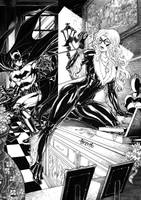 Batman vs Blackcat by Alissonart