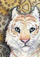 ACEO- Tigerwork Clock by cloudstar-wolf